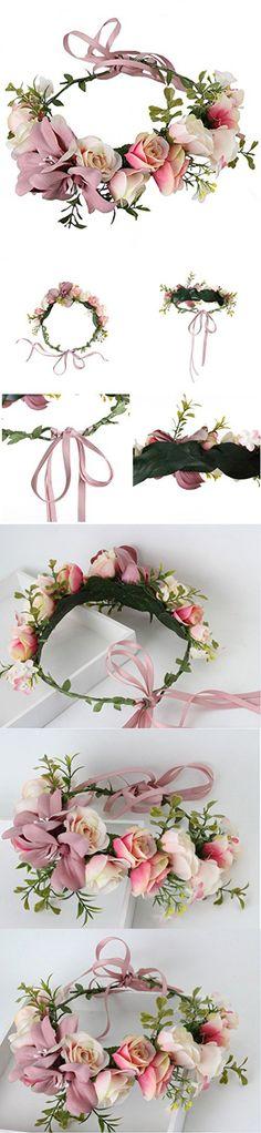 Felice Arts Women Flower Wreath artificial flowers head wreath headband Crown Floral Bridal Wedding Garland Headband Wrist Band Set
