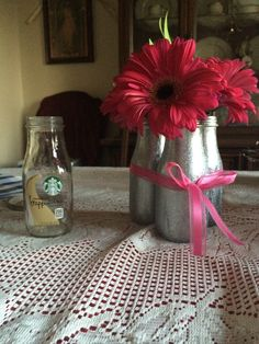 Recycled Starbucks bottles into center pieces