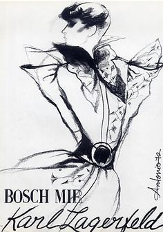 Fashion illustration by Antonio, 1972, Karl Lagerfeld Couture, Bosch Mir Textiles.