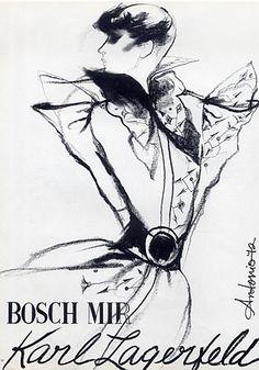 Fashion illustration by Antonio, 1972, Karl Lagerfeld Couture, Bosch Mir Textiles.