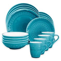 Bring a splash of bold style to your table and décor with the Fez 16-Piece Dinneware set from Euro Ceramica. The set features a beautiful tonal medallion print and includes dinner plates, salad plates, bowls and mugs.