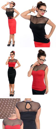 Brandy Mesh Dot Top by Steady in Red or Black