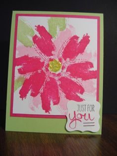 handmade card ... Work of Art Flower for you ... another beautiful card with a flower created from watercolor brush stroke stamp ... luv  the pinks with this shade of green ... Stampin'Up!