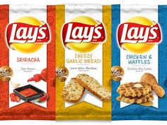 We Try the New Lay's Chips Flavors: Sriracha, Chicken & Waffles, Cheesy Garlic Bread. #chipfaced  - IT'S A TOSS UP BTW    Sirracha and Cheesy Garlic Bread