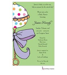Inviting Company Multi Dot Rattle Gender Neutral Baby shower Invitation with lavender and green