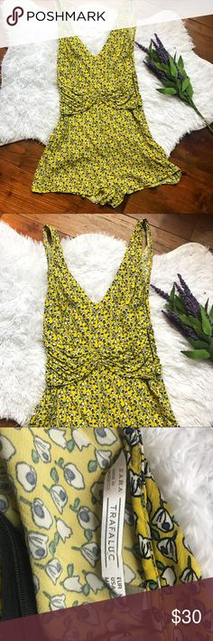 BOGO 💕 Zara bright yellow romper Zara bright yellow floral romper. Adorable and perfect for spring + summer! ✨ cute with a jean jacket! 🌼 Zara Pants Jumpsuits & Rompers