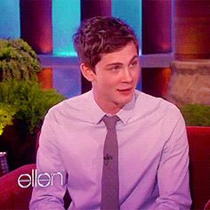Logan Lerman on Ellen (GIF) I just love his face XD