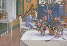 Carl Larsson. 1914 Interior with a Cactus watercolour