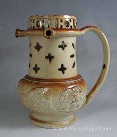 Brampton stoneware puzzle jug, circa 1840