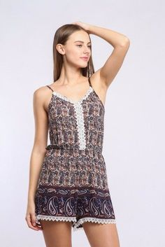 63c807e8e8d 2017 Bohemian holiday print sexy Beach playsuit high waist elastic waist  straps rompers elegant Tassels overalls