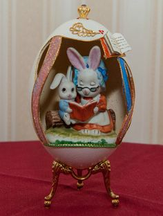 Decorative Collectable Russian Faberge Egg Bunny Reader Rabbit