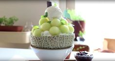 Traditional Korean dessert, Melon. Fine shaved ice with fresh