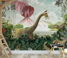 - Imagine what your wall can be Kidsroom, Boy Room, Wall Murals, Nursery Decor, Dinosaur Stuffed Animal, Nature, Explore, Wallpaper, Collage