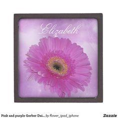 Pink and purple Gerber Daisy custom text Premium Keepsake Box