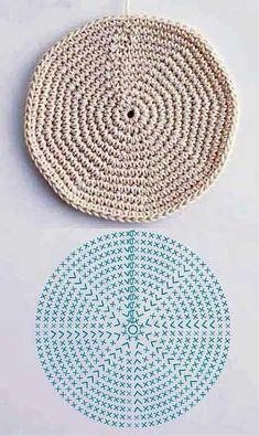 New Crochet Basket Square Ganchillo Ideas Crochet Motifs, Crochet Diagram, Crochet Chart, Crochet Doilies, Crochet Stitches, Crochet Patterns, Knitting Patterns, Crochet Potholders, Mode Crochet