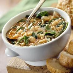 Savory Bean-Spinach Soup--one of the High Fiber Recipes from Diabetic Living Online