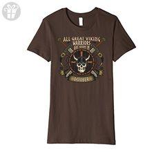 Womens Great Viking Warriors are Born in October Birthday T-shirt XL Brown - Birthday shirts (*Amazon Partner-Link)