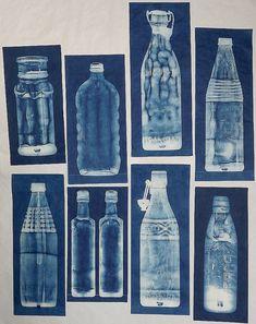 Lynnette Miller, Cyanotypes of bottles found in the garden.