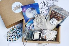 Deepen your connection with a MoonBox subscription.   3 handpicked crystals, dried herbs or tea, essential oil blend, moon oracle card, featured artist item, ritual supplies, + wearable gem Cancel anytime!