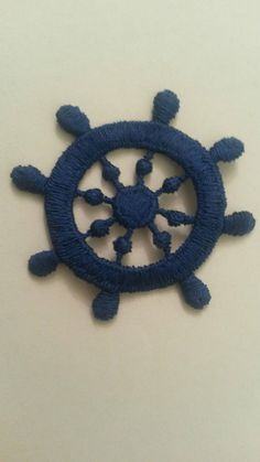 This item is unavailable Ship Anchor, Ship Wheel, Sew On Patches, Appliques, Crochet Necklace, My Etsy Shop, Sewing, Check, Blue