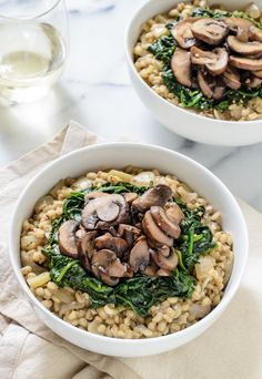 Creamy Barley Risotto with Garlic Mushrooms and Spinach. Barley cooks just as quickly as rice, but is much healthier for you!