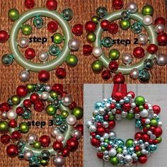 Starts with big Christmas Balls hot glued to base.  Just keep adding.  Hang with a ribbon.  Plan to have about 100 ornaments of assorted sizes to start with.  LOVE IT.