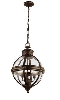 Feiss Adams 3 Light Pendant Chandelier British Bronze Inspired By The Victorian Age Collection Of Pendants Features Classic Glass Orbs Wi