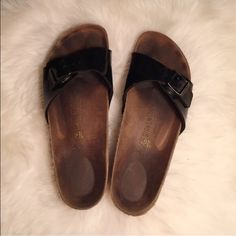 Black Birkenstock Sandals One buckle black Birks, they have a hard footbed and are a size 40, they've been worn but are in such amazing condition! Hoping someone can give these some loving  Birkenstock Shoes Sandals