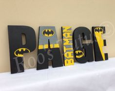 Batman inspired hand painted wooden letters (15cm)