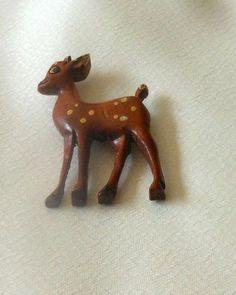 Vintage Costume Wooden Carved Hand Painted Deer Fawn Pin | eBay