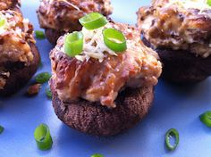 Peace, Love, and Low Carb: Bacon, Blue Cheese, Caramelized Onion Stuffed Mushrooms