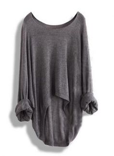 Gray Sweater - Gray Casual Loose Asymmetric
