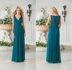 Wholesale Wedding Party Pleated V-neck Long Bridesmaid Dresses Corset Chiffon with Lace Sleeveless Floor Length A-line Zipper Girls Prom Dress Gowns from China :$47.66   DHgate.com