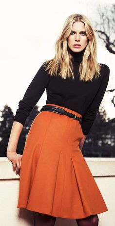 Wide pleated skirt for Fall/Winter with tucked in black sweater. Love this color