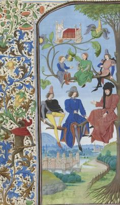 Monkey in the border wearing a red hood and cavorting about with a club. Bibliothèque nationale de France, Français detail of f. Medieval Manuscript, Medieval Art, Renaissance Art, Illuminated Manuscript, Medieval Clothing, Symbolic Art, Hat Decoration, Late Middle Ages, Book Of Hours