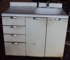 vintage kitchen sink cabinet enamel steel w drawers - Metal Kitchen Sink