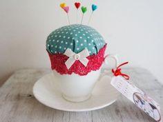 Blue Spotty Teacup Pincushion