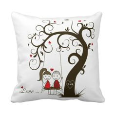 Whimsical Couple on swing love Valentine's Day Heart Tree custom Pillows - Soooo cute! Cushion Embroidery, Hand Embroidery Flowers, Diy Pillow Covers, Cushion Covers, Valentine Day Love, Valentine Gifts, Custom Pillows, Decorative Pillows, Couple Pillowcase