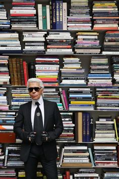 Karl Lagerfeld in his personal library