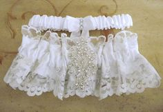 Princess White and Silver Lace Rhinestone Wedding Garter Set, Bridal Garter Set $30.00
