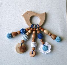 Baby teething toy Organic wooden teether Babywearing Crochet