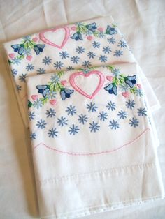 Vintage Embroidered Pillow Cases by jclairep on Etsy, $14.00
