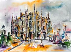 #Milan #Italy Duomo Cathedral Original #Watercolor & Ink 22 by 30 inch by Ginette