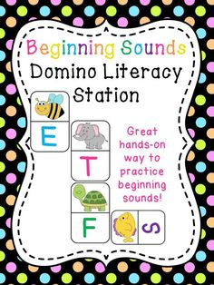 Beginning Sounds Domino Literacy Station - so much fun!! You can play with these domino literacy cards in so many ways!