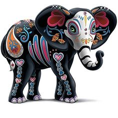 The Hamilton Collection Blake Jensen Celebration of Luck Sugar Skull Elephant Figurine with Faux Gems Elephant Parade, Elephant Love, Elephant Art, Creation Bougie, Sugar Skull Artwork, Sugar Skull Painting, Elefante Hindu, Candy Skulls, Sugar Skulls