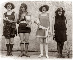 Four prize winners in the 1922 beauty show at Washington Bathing Beach, Washington, D.C. Left to right: Gay Gatley, Eva Fridell, Anna Neibel, Iola Swinnerton.