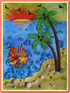 Картина панно рисунок Квиллинг Море солнце белый песок   Акварель Бумага бархатная Бумажные полосы Крупа Материал природный Ракушки фото 1