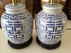 Lamps Ginger Jar Blue and White by LIVvintage on Etsy, $245.00