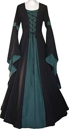 Meilidress Women Medieval Dress Lace Up Vintage Floor Length Cosplay Retro Long Dress Renaissance Costume, Renaissance Clothing, Medieval Fashion, Moda Medieval, Medieval Gown, Costume Roi, Pretty Dresses, Beautiful Dresses, Medieval Dress Pattern