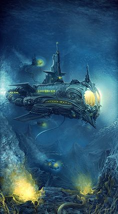#steampunk #fantasy submarine inspiration Ace of Cups (The Orient). Painted by Alex Boca for Brass & Steam Productions.